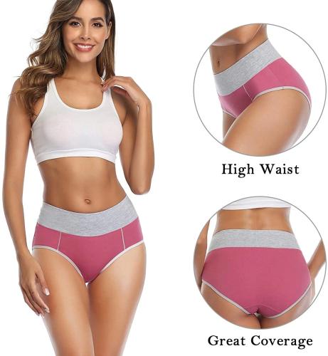 5 PCS/Set High Waist Women's Cotton Stretch Breathable Panties