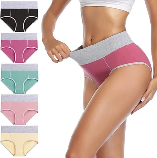 5 PCS/Set High Waist Women's Cotton Stretch Breathable Panties