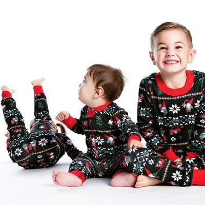 2020 New Parent-child Warm Christmas Set Printed Home Wear