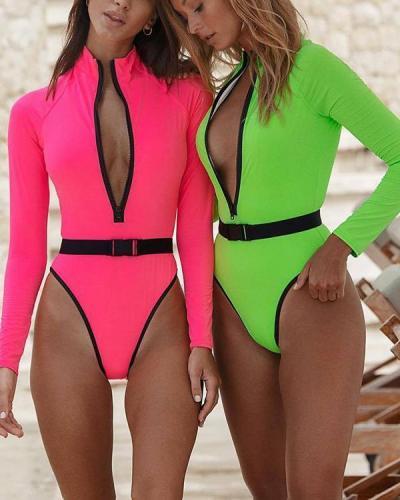 Long Sleeve Zipper One Piece Bathing Suit