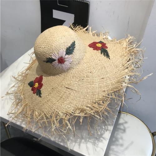 Women's Handmade Crochet Flowers Beach Straw Hat