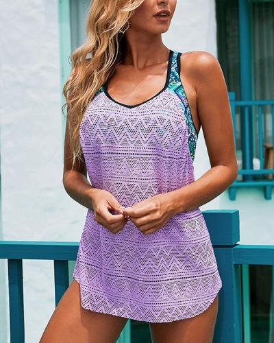 Lace Graphic Print Tankini Swimwear