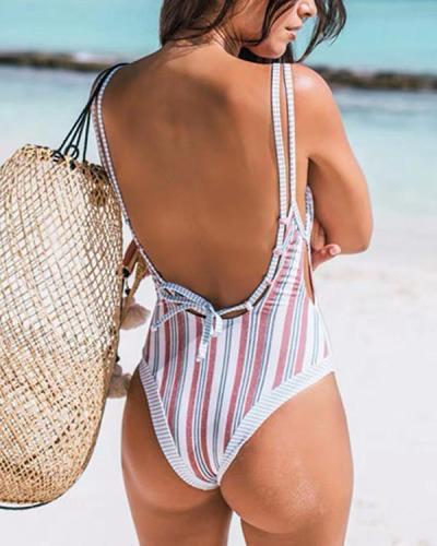 Striped Printed One-piece Bikini Swimsuit