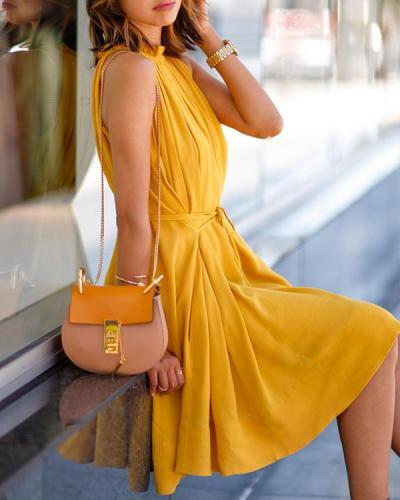 One Piece Fashion Sleeveless Party Dress With Belt Ladies Casual Beach Dresses