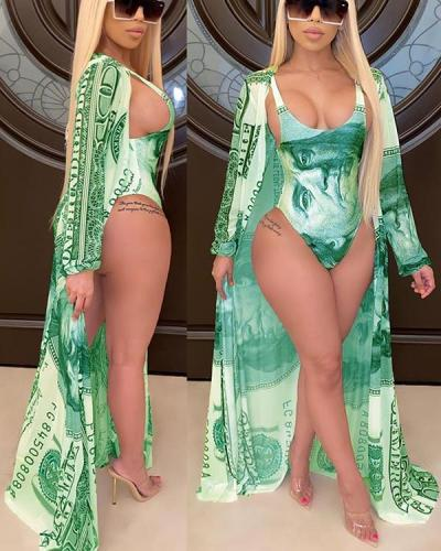 Fashion Casual Printed Cape + Bikini Split Swimsuit with Belt