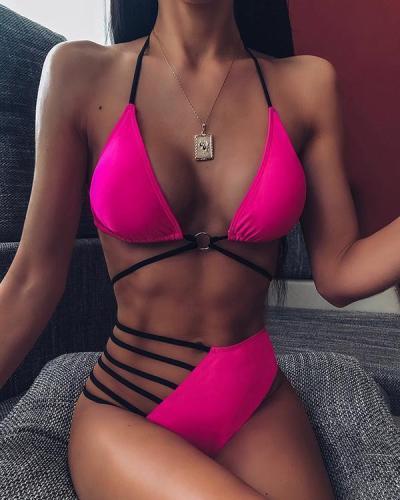 Halter Ladder Cutout Bandage Bikini Set