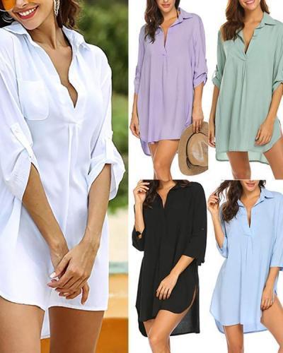 Deep V-Neck Fashion Beach Sunscreen Swimsuit Shirt Top