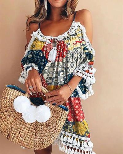Crew Neck Bohemian Style Summer Holiday Mini Dress