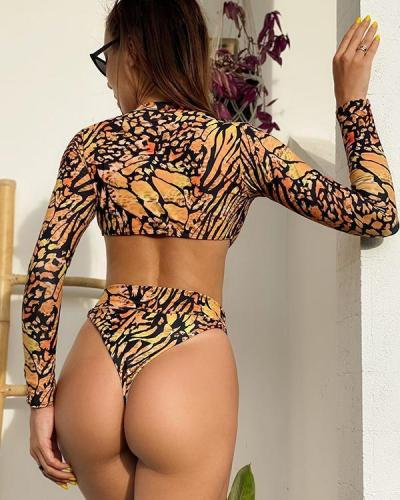 Printed Irregular Long Sleeved One-piece Swimsuit