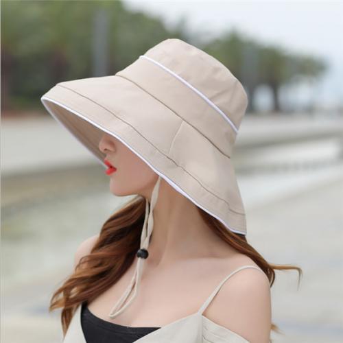 Women Foldable Cotton Sun Bucket Hat Summer Outdoor Travel Beach Cap