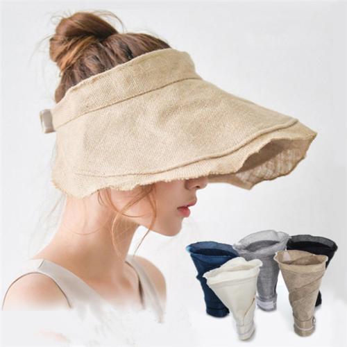 Womem's FoldableBeach Straw Hat Causal Wide Brim Sunscreen Cap