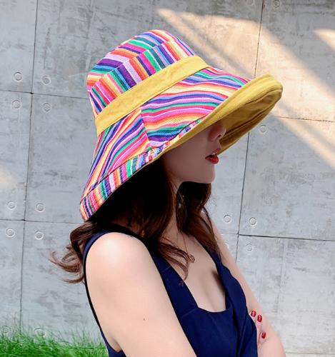 Women Foldable Double-sided Wear Cotton Sun Bucket Hat Summer Outdoor