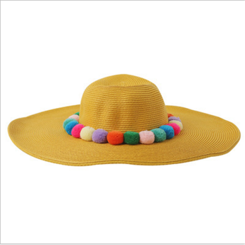 Women's Hair ball Big Straw Hat Holiday Beach Hat