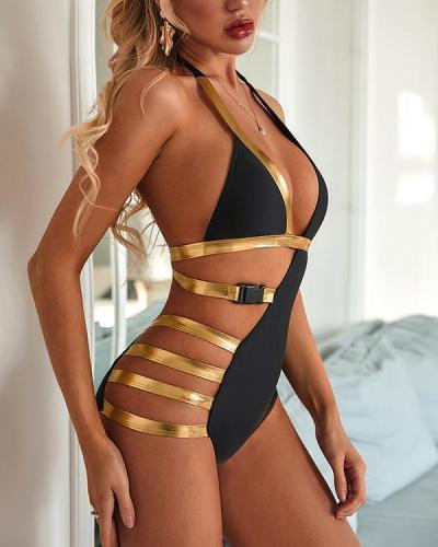Ladder Cut Out Halter One Piece Swimsuit