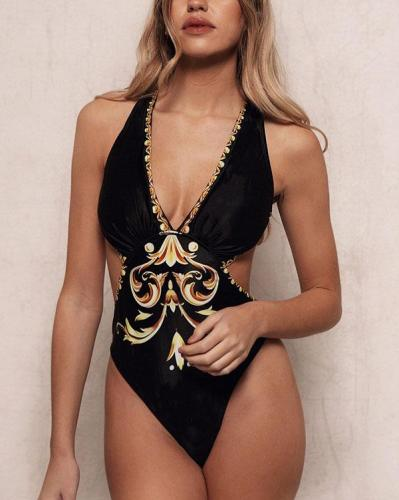 Print High Leg Strap Sexy Beautiful Classic One-piece Swimsuits