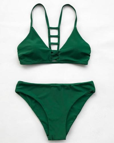 Push-up Cut Out Strappy Sexy Swimsuit Bathing Suits