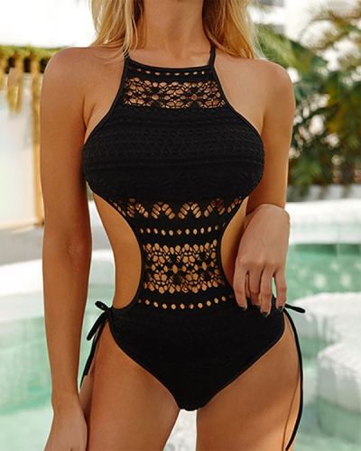 Hollow Out Mesh Lace Up Halter Strapless One Piece Swimsuits