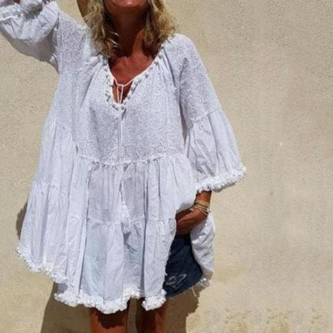 Plus Size Casual Loose Tassel Mini Dress