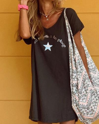 Cotton Short Sleeve Star Print Casual Holiday Dresses