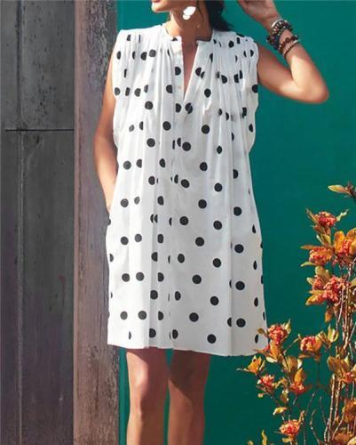 Sleeveless Polka Dots Holiday Daily Fashion Mini Dresses
