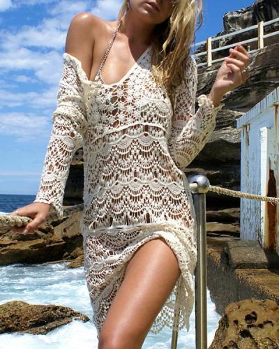 Stylish Crochet V-neck Handmade Cover Up