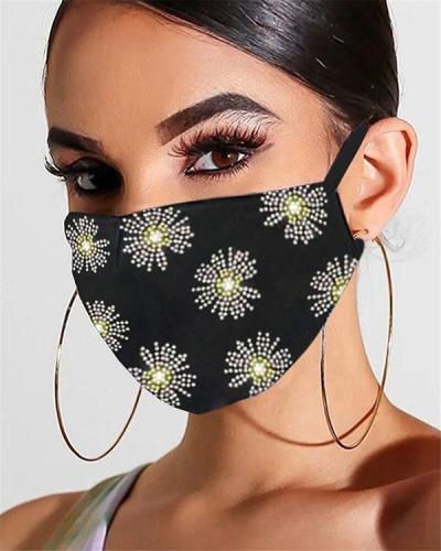 Diamond Rhinestone Flower Jewelry Face Mask