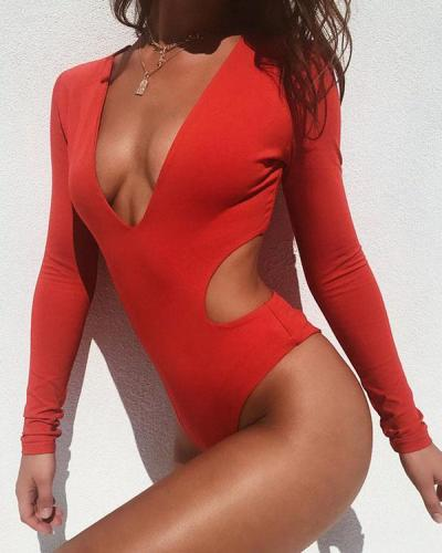 Hollow Deep V Sexy Backless One-piece Swimsuit