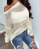 Solid Long Sleeve Hollow Out Sweater Cover Up