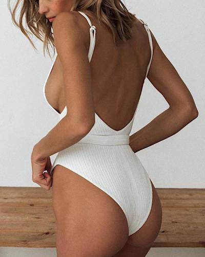 Solid Color Special Fabric Belt Buckle One-piece Swimwear