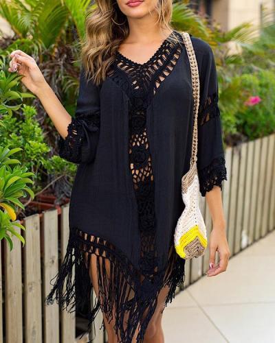 Crochet Lace Insert Tassel Backless Cover Up Dress