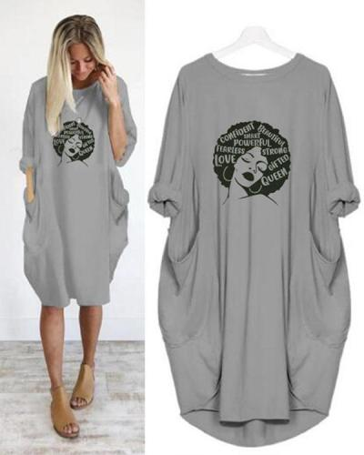 Summer Women Letter Printed Casual Irregular Plus Size Dress