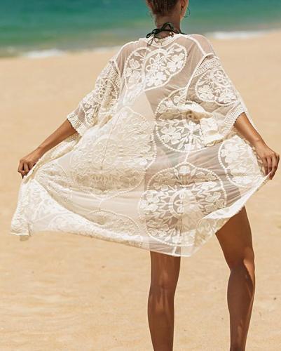 Sheer Mesh Cover Up Dress
