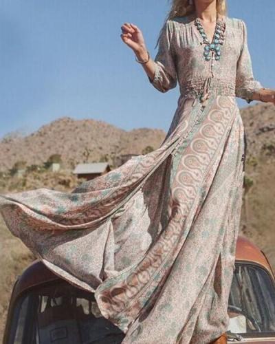 Bohemian Women 3/4 Sleeve V neck Summer Floral Boho Dress