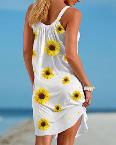 String Strap Round Neck Sleeveless Plus Size Cover-ups Dress