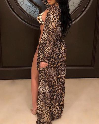 Halter Leopard Print Bikini With Cover Up