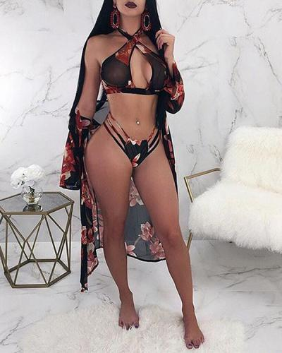 3Pcs Set Sexy Printed Bikini & Cover Up Swimsuit Set
