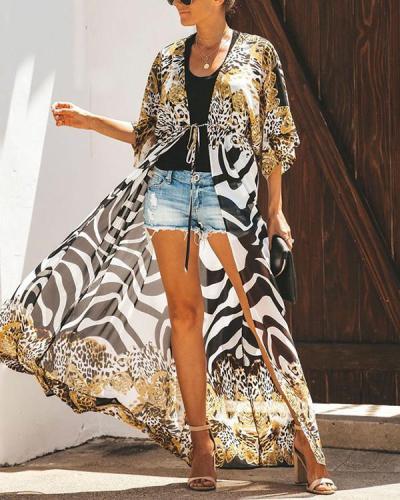 Chiffon Loose Mid-length Leopard Print Cardigan