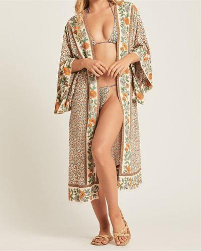 Printed Sunscreen Cardigan Bikini Beach Dress
