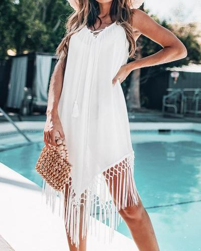 Backless Cover Up with Tassels