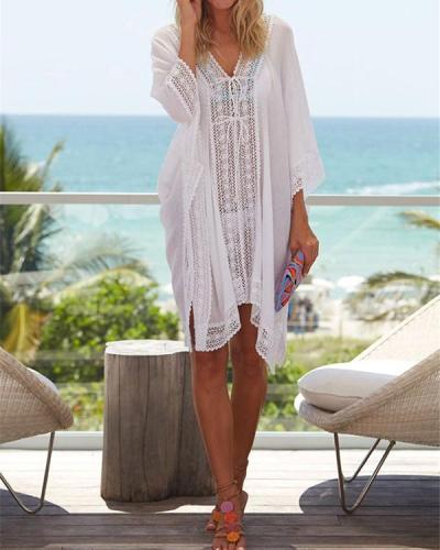 Chiffon Ruffled Lace Loose Large Size Beach Skirt Outer Blouse Holiday Sunscreen Cardigan