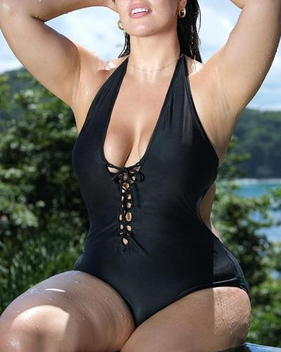 One-piece Swimsuit Plus Size Braided Nylon Swimsuit