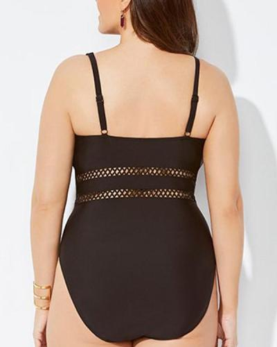 Plus Size Solid Color Mesh Stitching One-piece Swimsuit