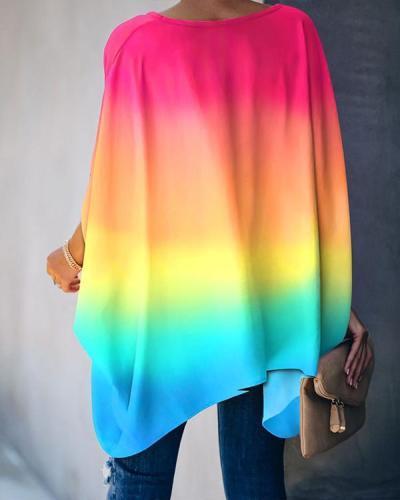 Women Tie Dye Half Sleeve Loose Blouses