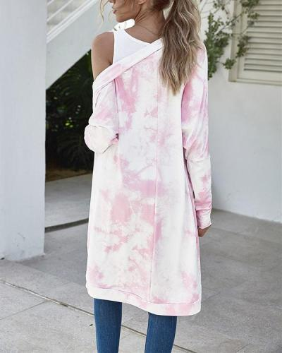 Women Tie Dyed Printed Open Front Long Sleeve Cover Up Cardigan Tops