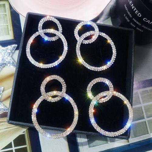 Glitter Studded Double Circle Hoop Earring
