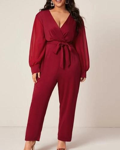 Fashion Long Sleeve Waist Belt V-neck Plus Size Jumpsuit