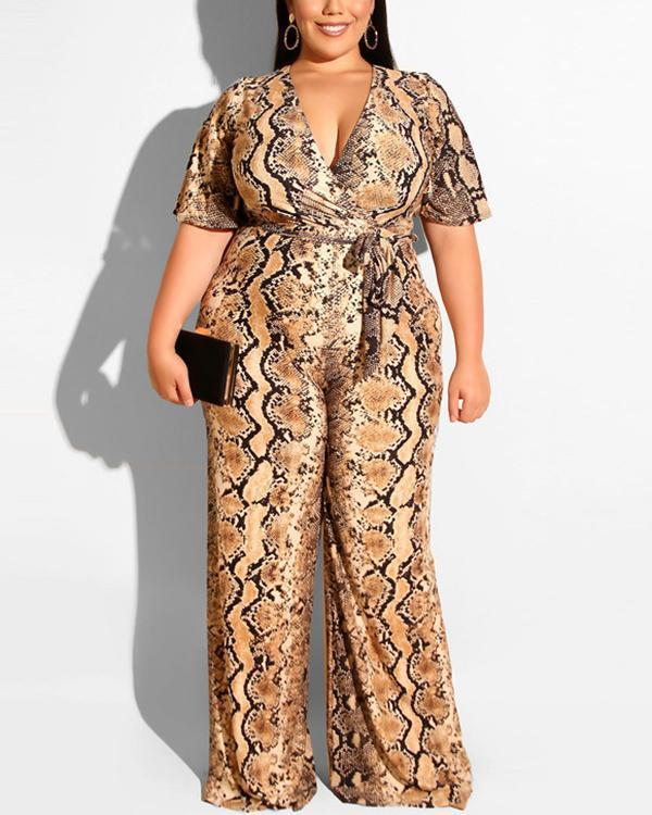 Snake Print Belted Plus Size Jumpsuit