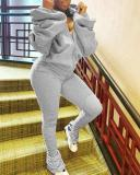 Stylish Hooded Collar Hollow-out Zipper Design Grey Plus Size Two-piece Pants Set