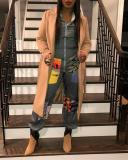 Casual Zipper Collar Long Sleeve Regular Sleeve Print Plus Size Jumpsuits