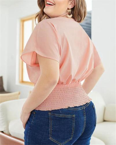 Plus Size Women Solid Pink Blouse Summer Tops